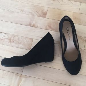CL by Laundry black suede wedge heels